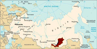 The location of Buryatia in southern Siberia