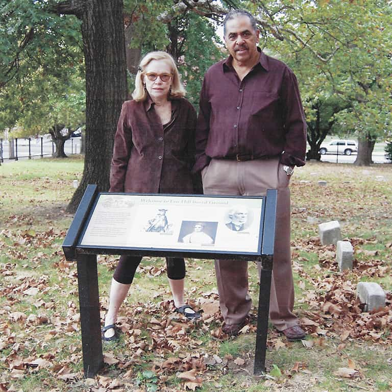 Janet Gardner and Dick Nurse scouting the Fair Hill burial ground in Philadelphia, Pennsylvania