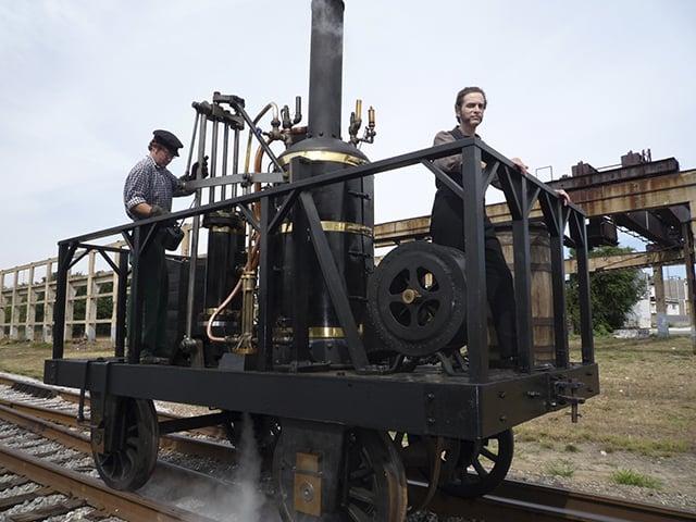Peter Cooper on a steam locomotive