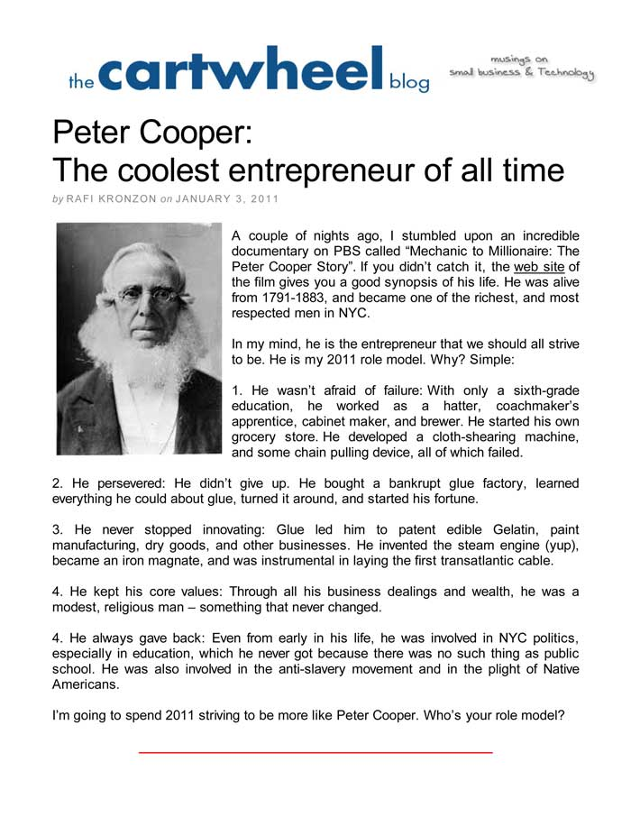 The Cartwheel Blog, January 3, 2011, Peter Cooper: The coolest entrepreneur of all time