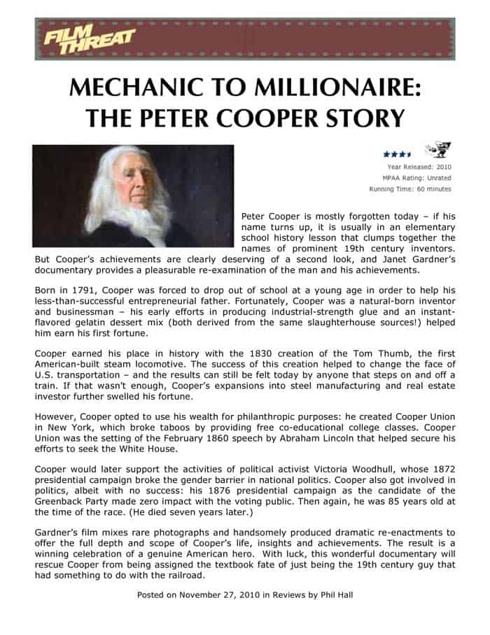 """Film Threat, """"Mechanic to Millionaire: The Peter Cooper Story,"""" By Phil Hall, November 27, 2010"""