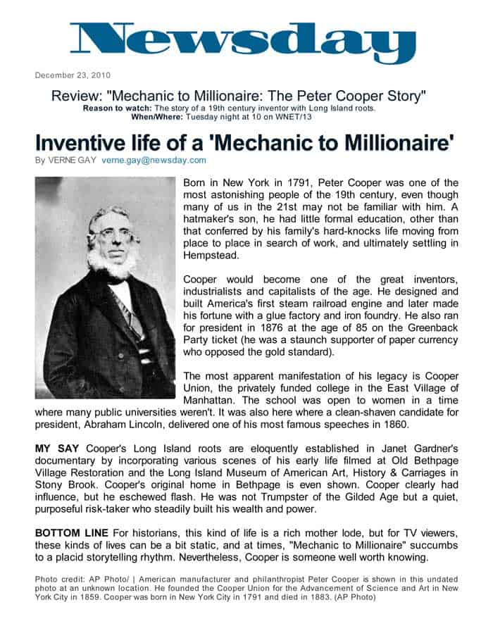 """Newsday, Review: """"Inventive life of a 'Mechanic to Millionaire',"""" By Verne Gay, December 23, 2010"""