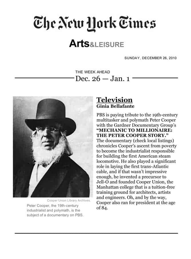 The New York Times, The Week Ahead Dec. 26 - Jan. 1, Television, By Gina Bellafante, December 26, 2010