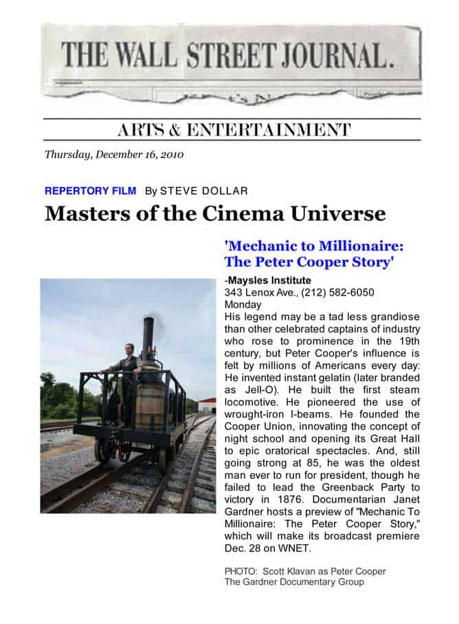 """The Wall Street Journal - Repertory Film: """"Masters of the Cinema Universe,"""" By Steve Dollar, December 16, 2010"""